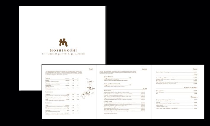 Création d'une carte de restauration haut de gamme pour le Moshi Moshi