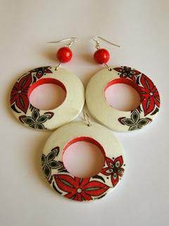 decoupage - czarno czerwono biały komplet biżuteri