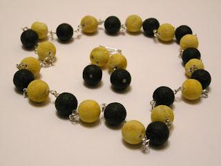 biżuteria z półfabrykatów - koral i lawa (komplet)