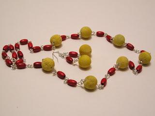 biżuteria z półfabrykatów - żółty koral (komplet)