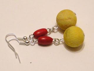biżuteria z półfabrykatów - żółty koral (kolczyki)