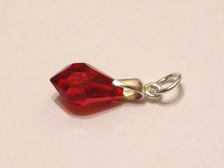 biżuteria z półfabrykatów - kryształki czerwone (zawieszka)