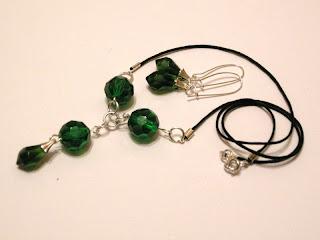 biżuteria z półfabrykatów - zielone kryształki (komplet)