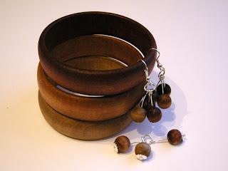 wyroby decoupage - bejcowany drewniany komplet