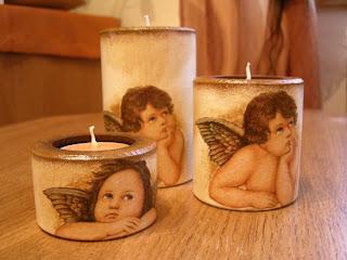 wyroby decoupage - anielskie świeczniki
