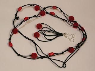 biżuteria z półfabrykatów - sznurek i welur (komplet)