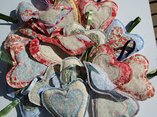 Collection of handmade textile birds & hearts