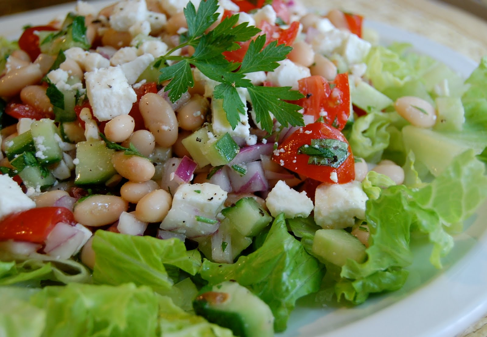 Chef Mommy: Chopped Greek Salad with Cannellini Beans