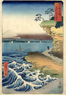 Estampes japonaises Hiroshige-+36+Views+Of+Mt+Fuji+-+Fuji+seen+from+the+sea+at+Honmaki,+Musashix600