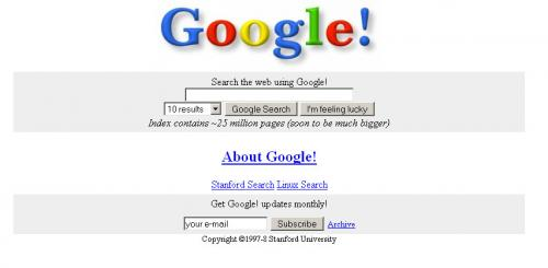 Tampilan awal web besar dunia : google, yahoo amazon dsb.