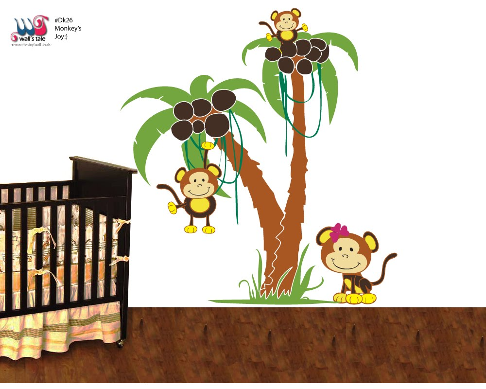 baby wall stickers monkey stickers monkey 39 s naughty family wall decal. Black Bedroom Furniture Sets. Home Design Ideas