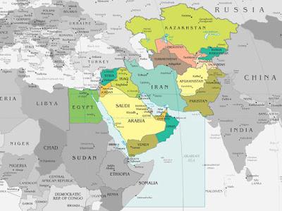 Mapa - Área de jurisdição militar - Estados Unidos no Oriente Médio