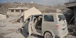 kendaraan saat letusan gunung merapi