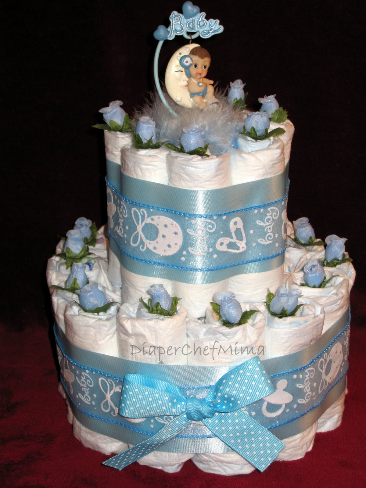 Diaper Cake Centerpiece For Baby Shower : Diaper Chef Mima: Baby Shower Diaper Cake Centerpieces