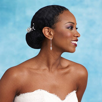 African American Wedding Hairstyles & Hairdos: Updo with Floral Comb