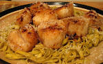 Scallops with Garlic Basil Linguine