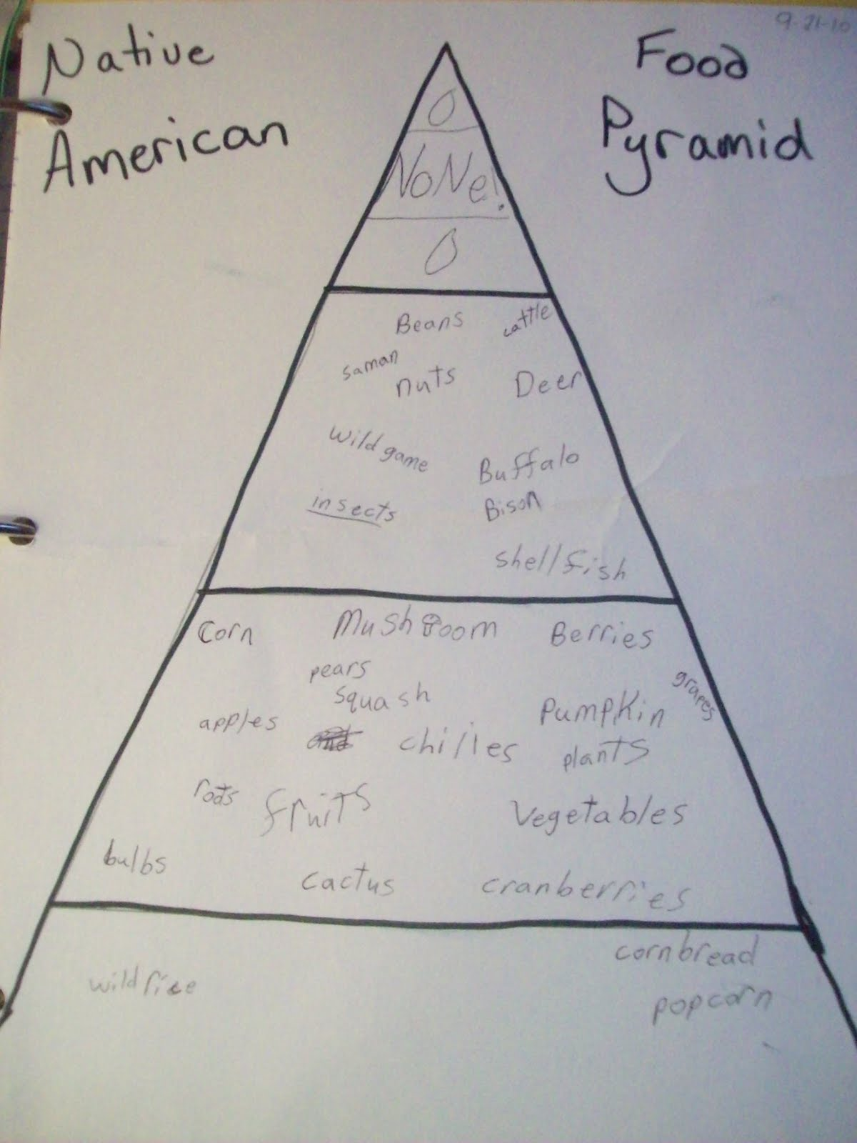 katie filled in a food pyramid with the foods in each category that the native americans ate we gathered this information by reading lots