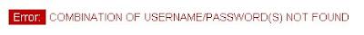 Грешно потребителско име или парола