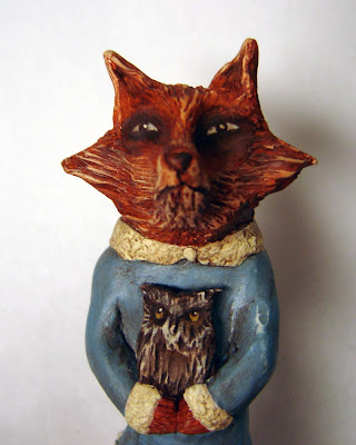 Folk Art Doll Fox and Owl