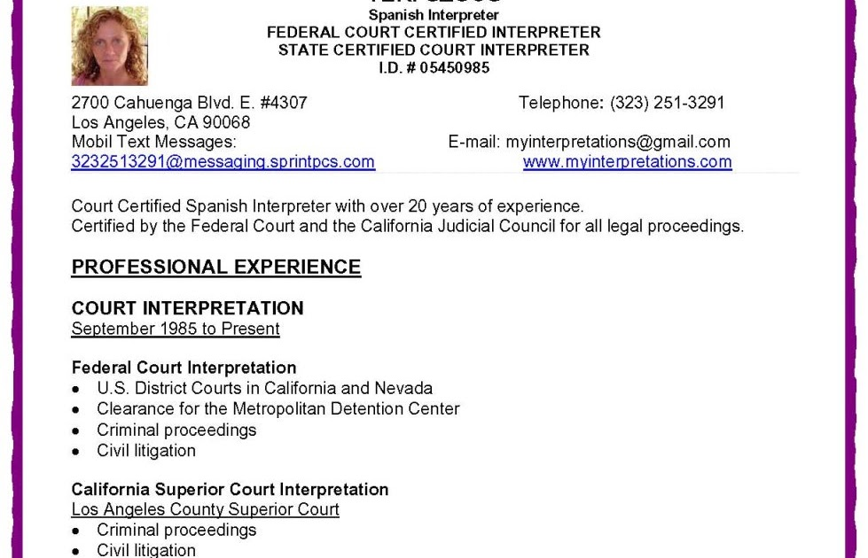 federal and california court certified spanish interpreter court certified interpreter resume - Interpreter Resume Sample