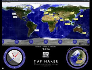 Freeware for design and gps sun clock v65 for map maker free program to monitor the sun the moon and time around the world displays a world map showing local times for cities around the globe night and day gumiabroncs Image collections