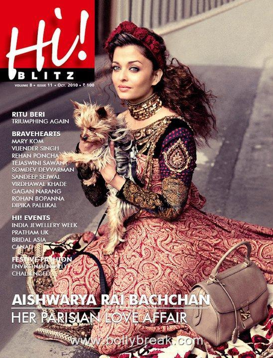 Gorgeous Aishwarya Rai Hi! Blitz Cover Scan - Oct 2010