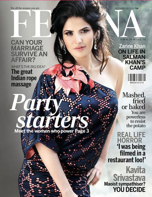 , Zarine Khan Sizzles on Femina Cover Dec 2010