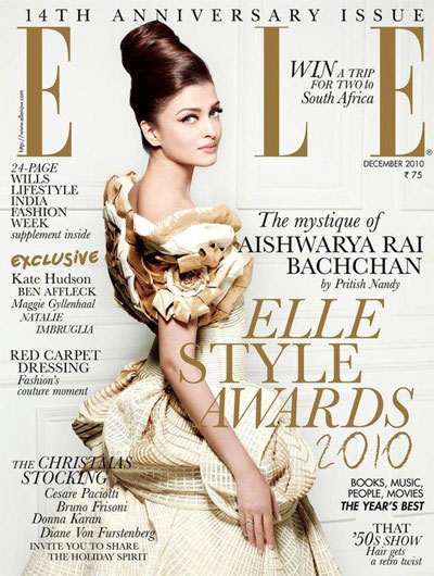 Aishwarya Rai Elle cover scan - Dec 2010
