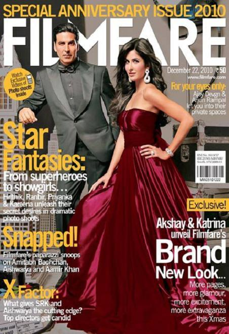 Sexy Kat in Red Gown on Filmfare Anniversary Issue