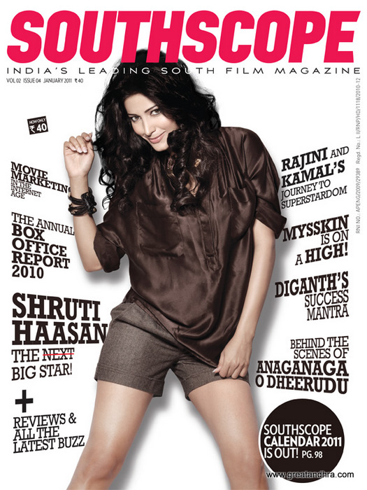 Shruti Hassan sizzle on South Scope Magazine Cover
