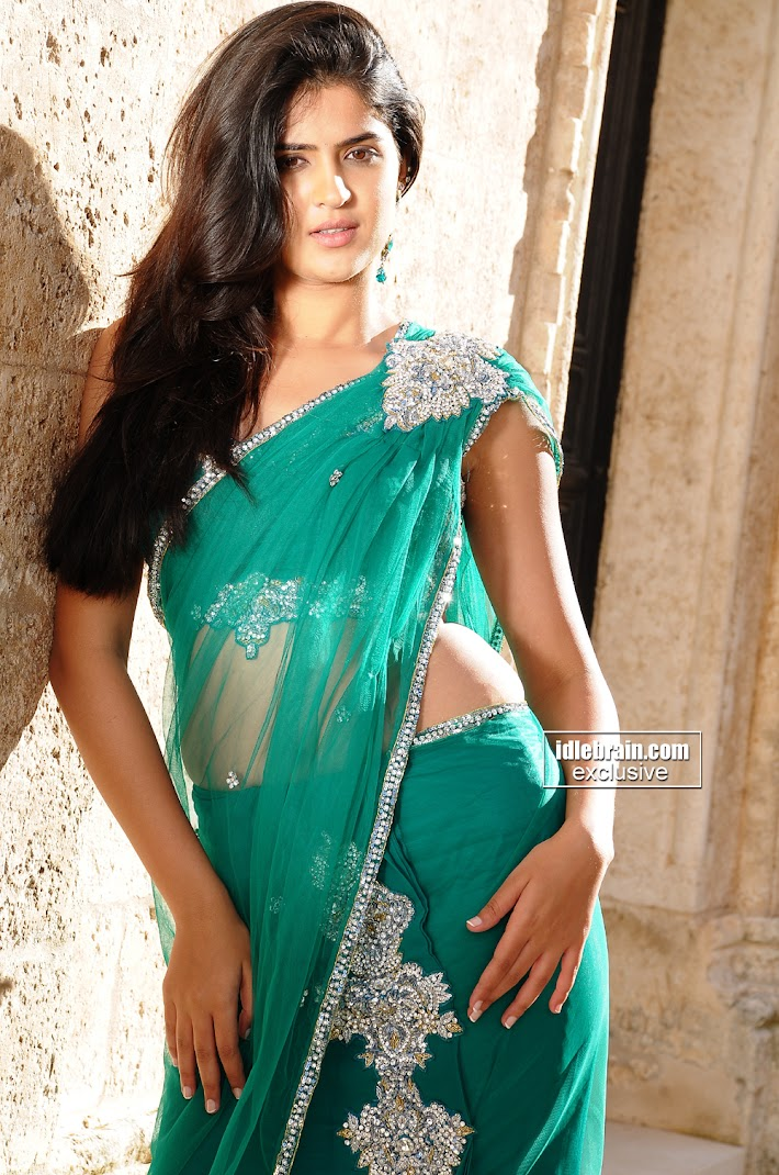 Stunning Deeksha Seth Super HOt Pics in Green Saree - HQ