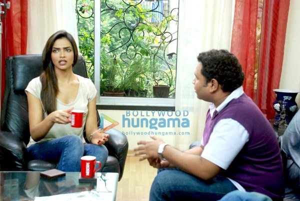 Deepika Padukone with contest winner Sudhindra shoot for Nescafe Ad