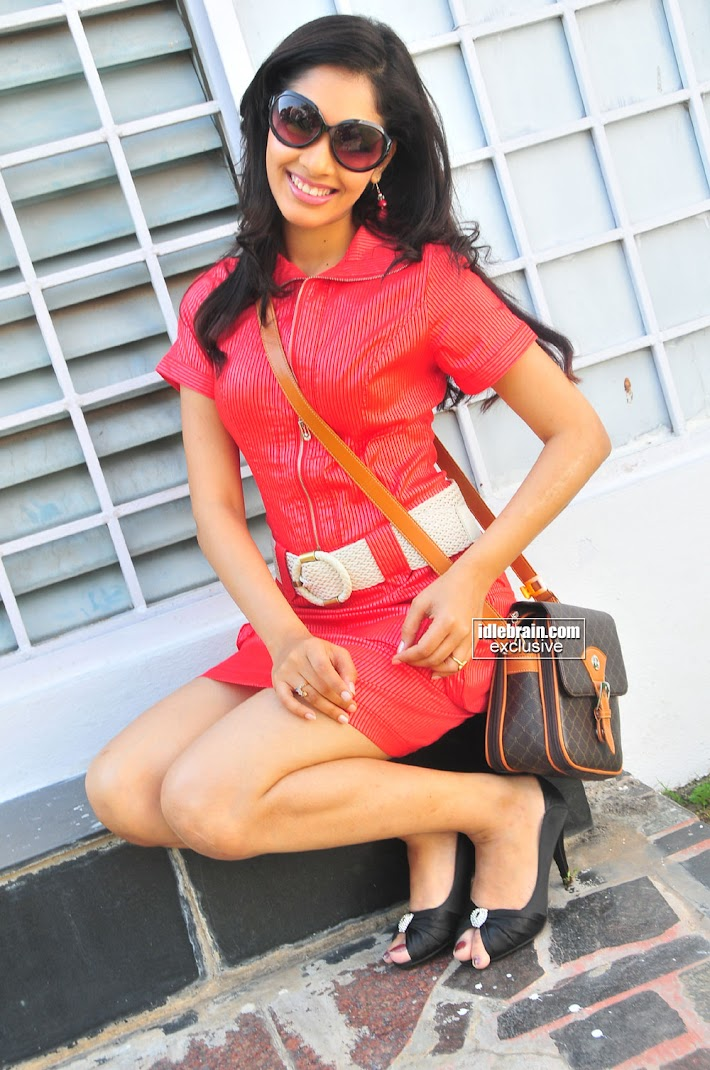 Rithika Hot Stills in Red Dress