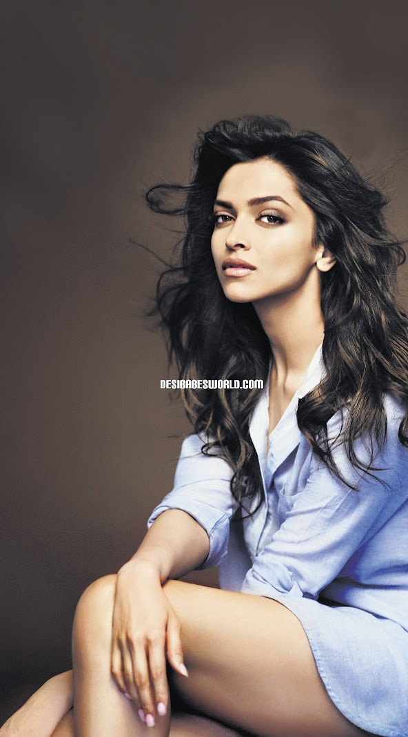Deepika Padukone Hot Wallpaer in Men's Shirt