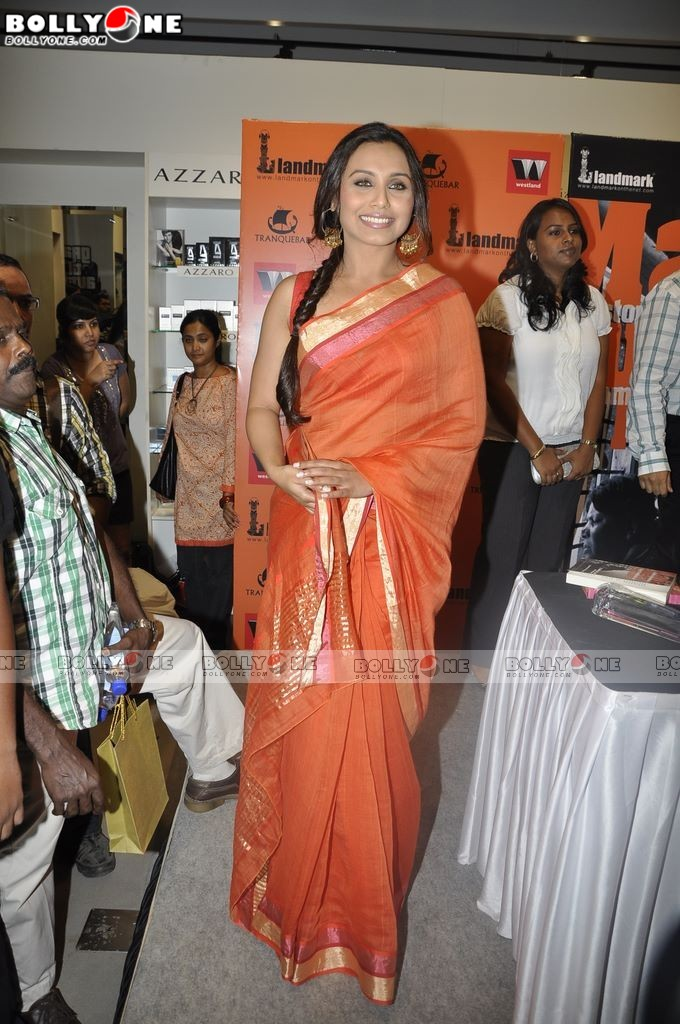  Rani Mukherji in Orange Saree unveil Mafia Queens of Mumbai book