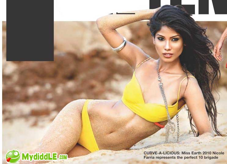 Hot Miss Earth 2010 Nicole Faria in a Yellow Bikini