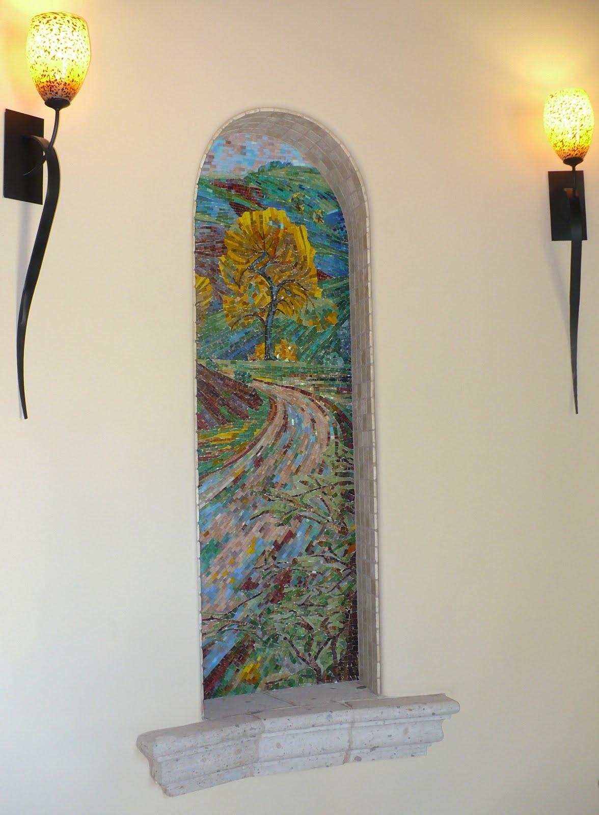 Hakatai tile mosaic mural windows for Custom mosaic tile mural
