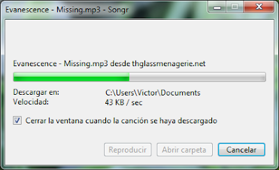 Descargando Evanescence - Missing con Songr
