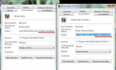 Imagen: Propiedades de Firefox con -no-remote agregado