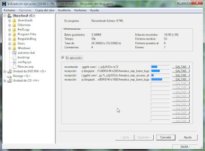 Imagen: WinHTTrack - Recorriendo fichero HTML