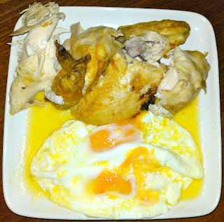 Roast chicken and eggs fried in copious amounts of butter
