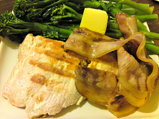 Grilled salmon fillet, bacon, and boiled broccolini