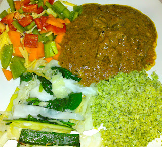 Sunday's dinner - coconut beef curry, with broccoli rice, sauteed cabbage, zucchini and spinach, and a diced capsicum, carrot and cheddar salad