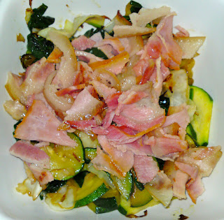 Friday's dinner - sauteed cabbage and zucchini, topped with heaps of bacon!