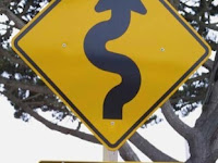 a road sign indicates curves in the road ahead