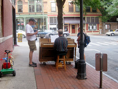 Piano Busker in Downtown Northampton, Sunday 9/14