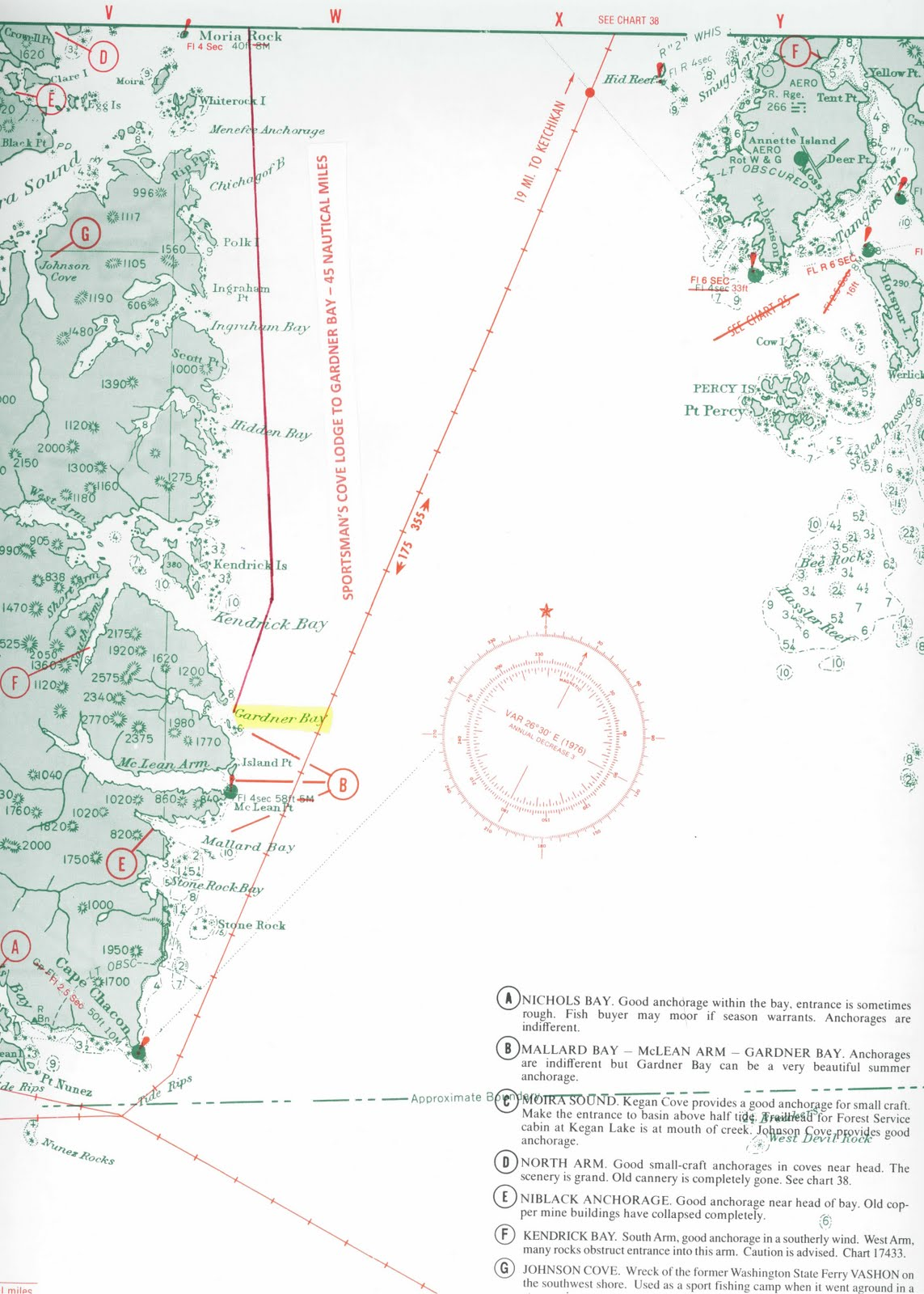 Alaska fishing chart of cape chacon and gardner bay for Prince of wales island fishing
