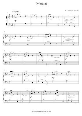 Partitura de piano gratis de Wolfgang Amadeus Mozart: Menuet