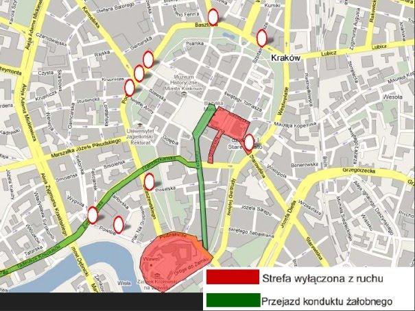 Mapa ograniczeń w ruchu samochodów Kraków pogrzeb