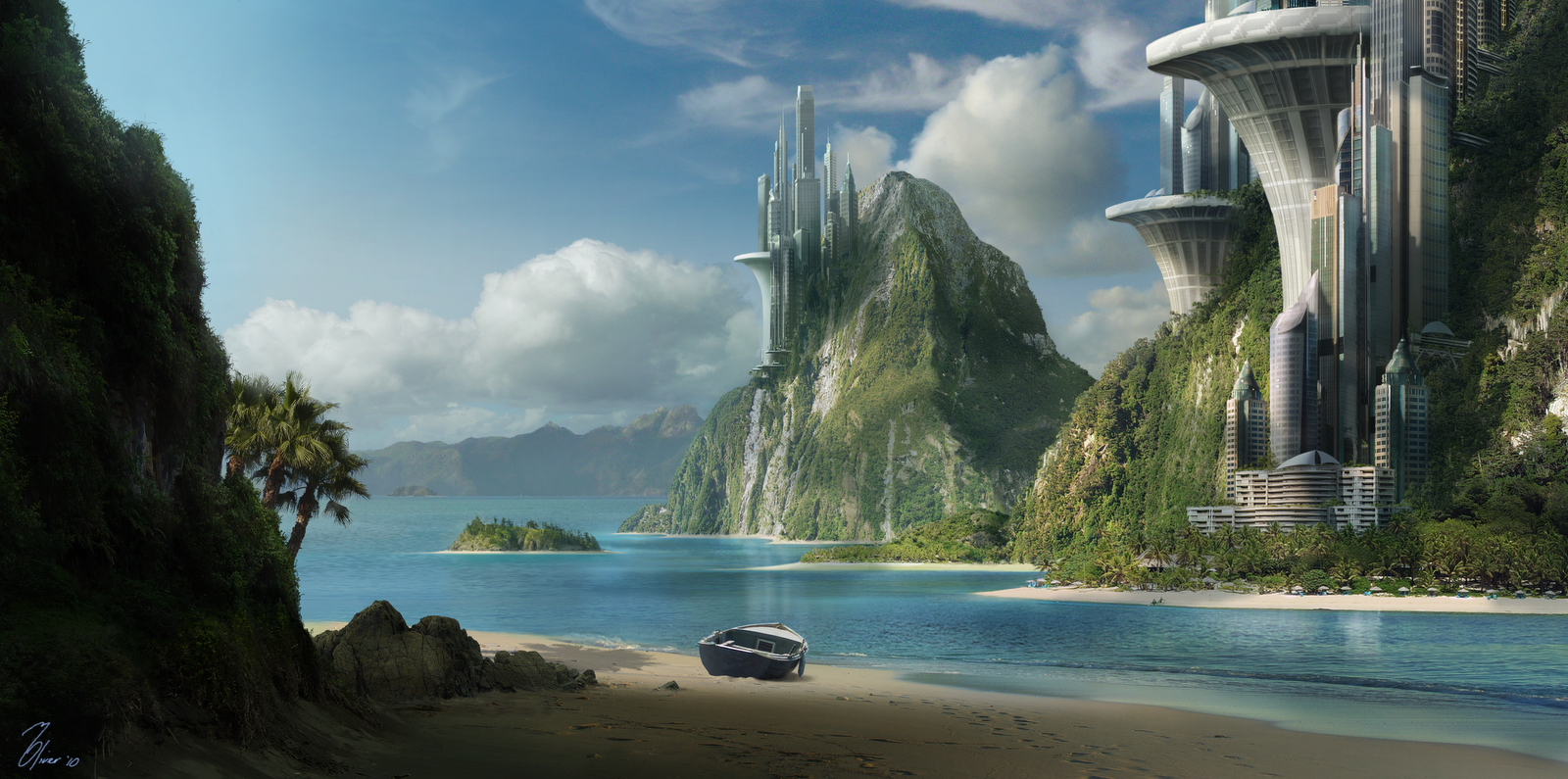 Martin oliver beachmattepainting for Space matte painting